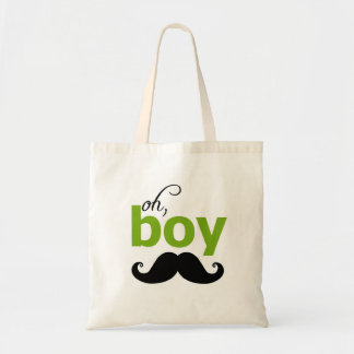 Green Oh Boy Mustache Baby Shower Tote Bag