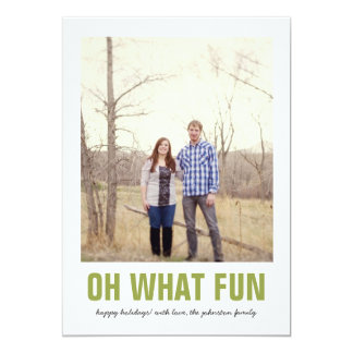Green Oh What Fun Christmas Photo Flat Cards