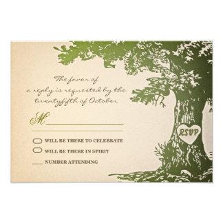 green old tree vintage wedding rsvp design custom invites