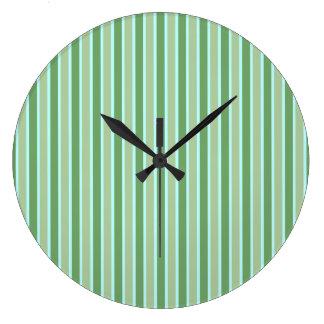 Green Olive Blue Stripe Wall Clock