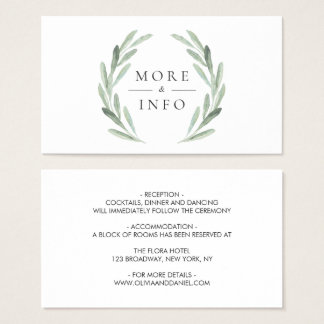 Green Olive Branch Wreath Rustic Wedding Details Business Card