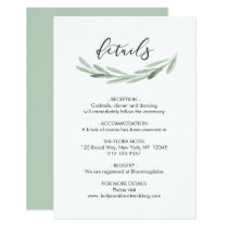 Green Olive Branch Wreath Rustic Wedding Details Card