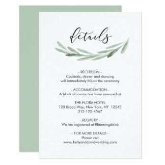 Green Olive Branch Wreath Rustic Wedding Details Card