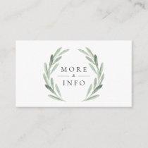 Green Olive Branch Wreath Rustic Wedding Details Enclosure Card
