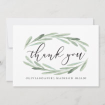 Green Olive Branch Wreath Wedding Thank You Card