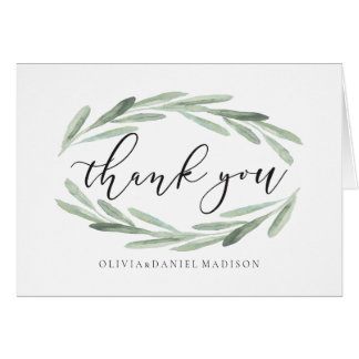 Green Olive Branch Wreath Wedding Thank You Photo Card