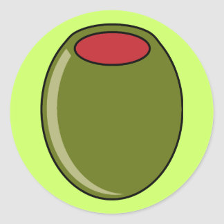 Green olive classic round sticker