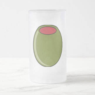 Green olive frosted glass beer mug