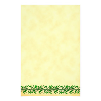 Green Olive Leaf Border Faux Parchment Stationery
