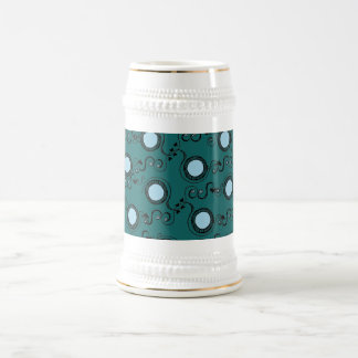 Green olive polka dot pattern beer stein