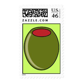 Green olive postage stamp
