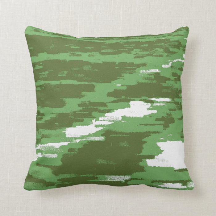 Green Olive White Abstract Wave Retro Pillow
