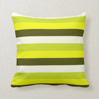 Green Olive White Stripes Pattern Pillow