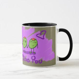 Green Olive You I Love U Purple Heart Mug