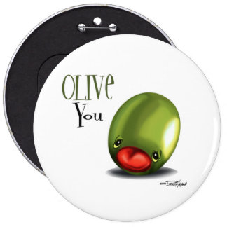 Green Olive you - I love you button