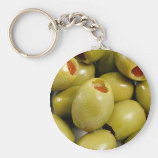 Green olives basic round button keychain
