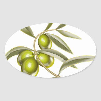 Green olives branch oval sticker