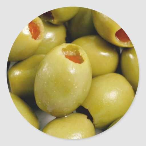 Green olives round stickers