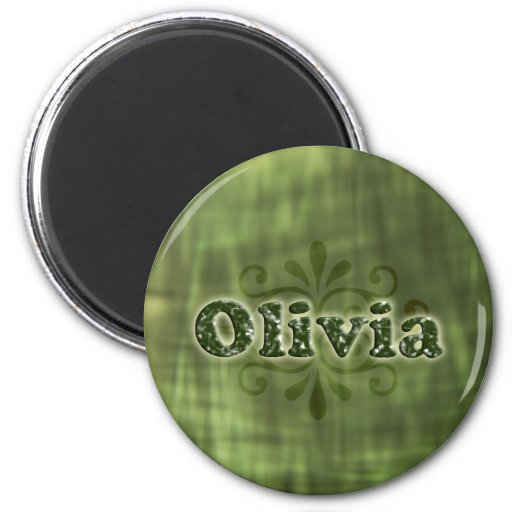 Green Olivia 2 Inch Round Magnet