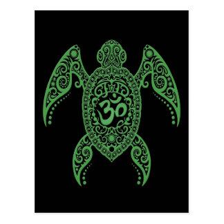 Green Om Sea Turtle on Black Postcard