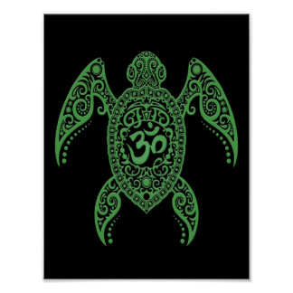 Green Om Sea Turtle on Black Poster