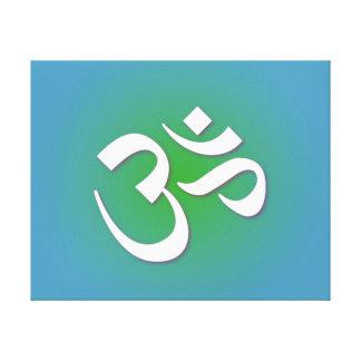 Green Om Symbol Canvas Print