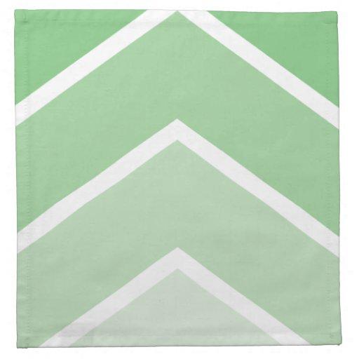 Green Ombré Chevron Stripes Pattern Napkins