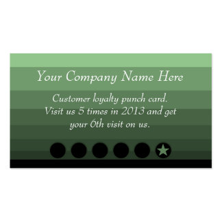 Green Ombre Discount Promotional Punch Card Business Card Template