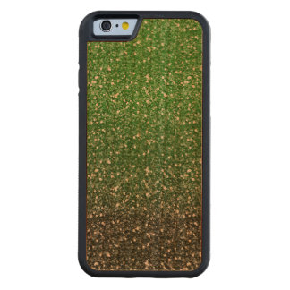 Green Ombre Glitter Effect Carved Cherry iPhone 6 Bumper Case
