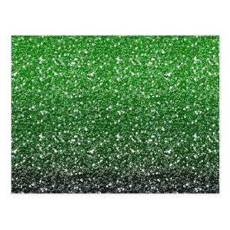 Green Ombre Glitter Effect Postcard