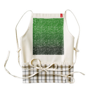 Green Ombre Glitter Effect Zazzle HEART Apron