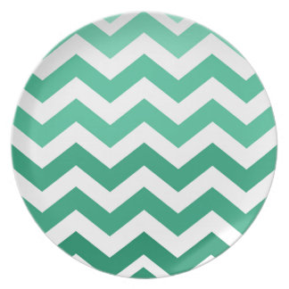 Green Ombre Zigzags Dinner Plate