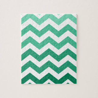 Green Ombre Zigzags Jigsaw Puzzle