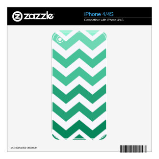 Green Ombre Zigzags Skin For The iPhone 4