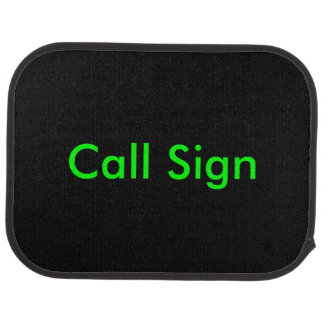 Green on Black Amateur Radio Call Sign Car Mat
