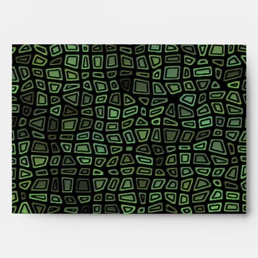 Green on Black Mosaic Pattern Envelopes