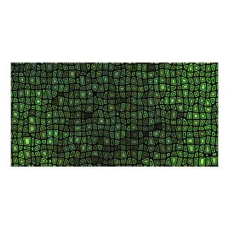Green on Black Mosaic Pattern Customized Photo Card