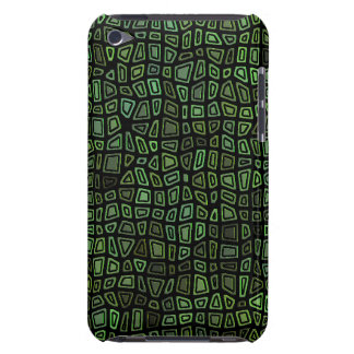 Green on Black Mosaic Pern Barely There iPod Covers