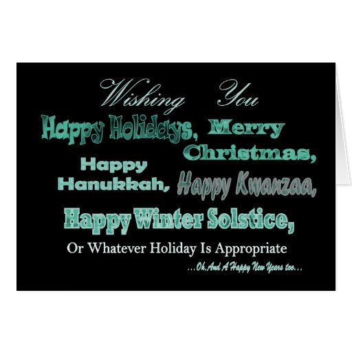 Green on black Multi Holidays Stationery Note Card