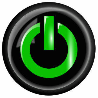 """ Green On "" Black Power Button"