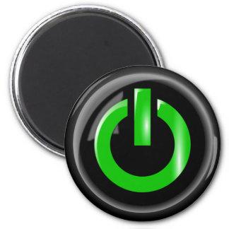 """ Green On "" Black Power Button 2 Inch Round Magnet"