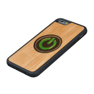 """"""" Green On """" Black Power Button Carved® Cherry iPhone 6 Bumper Case"""