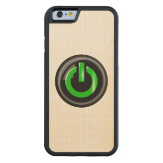""""""" Green On """" Black Power Button Carved® Maple iPhone 6 Bumper Case"""