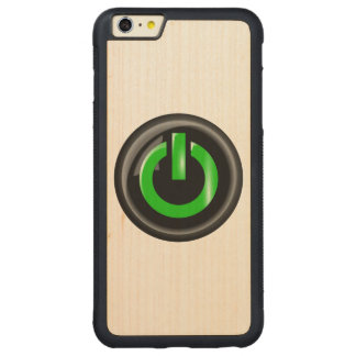 """"""" Green On """" Black Power Button Carved® Maple iPhone 6 Plus Bumper"""