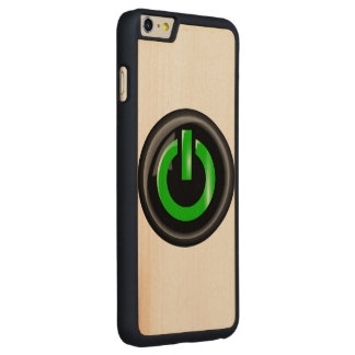 """"""" Green On """" Black Power Button Carved® Maple iPhone 6 Plus Slim Case"""