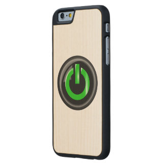 """"""" Green On """" Black Power Button Carved® Maple iPhone 6 Slim Case"""