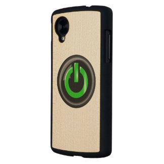 """ Green On "" Black Power Button Carved® Maple Nexus 5 Case"