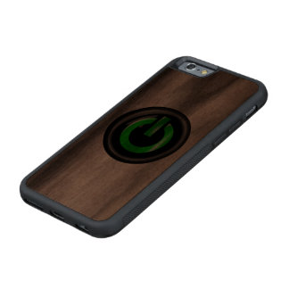 """"""" Green On """" Black Power Button Carved® Walnut iPhone 6 Bumper"""
