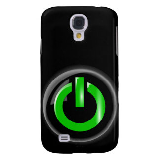 """"""" Green On """" Black Power Button Samsung Galaxy S4 Covers"""