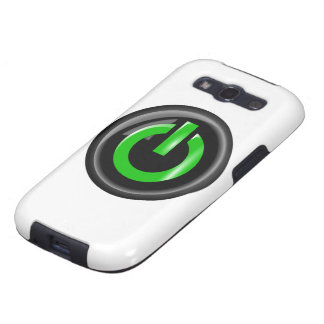 """"""" Green On """" Black Power Button Samsung Galaxy SIII Covers"""